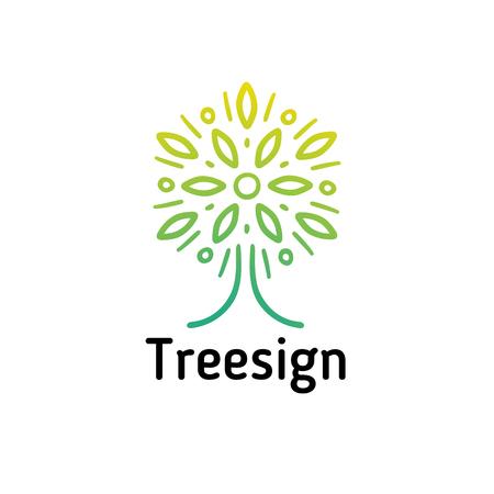 Hand-drawn tree logo, the crown resembles a flower Banco de Imagens - 98980503