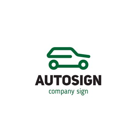 Simple logo with a car silhouette vector illustration Illustration