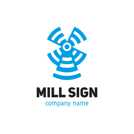 Sign of a mill in a modern style Illustration