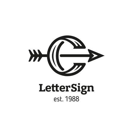 Sign in retro style, letter C and arrow Vektoros illusztráció