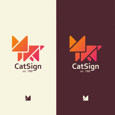 Modern sign in the form of a cat, for any activity with pets Vectores