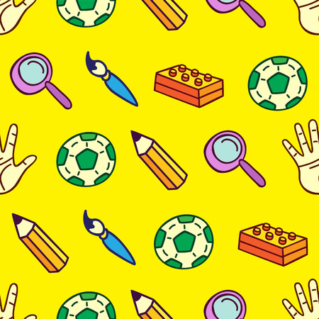 Childrens seamless pattern, a pattern of childrens objects Illustration
