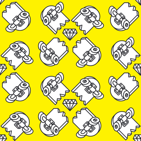 seamless pattern on a skateboard on a yellow background Illustration