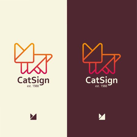 Modern sign in the form of a cat, for any activity with pets Illustration