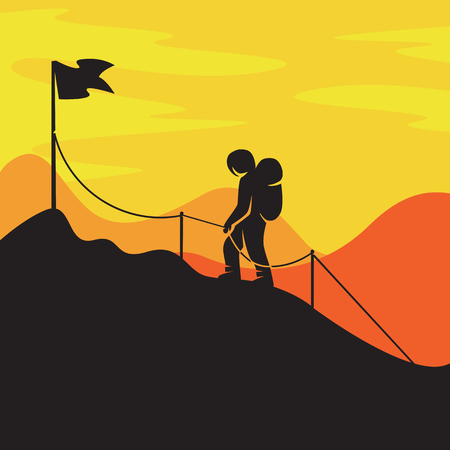 vector illustration of conquering the top, reference to business or travel