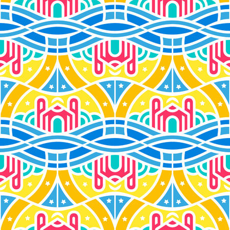 Seamless pattern of magic city in the clouds