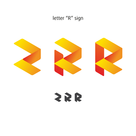 Sign in modern style, set of abstract signs, letter R