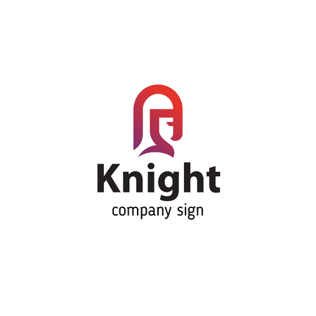 Sign in modern style knight in helmet, portrait in profile Illustration