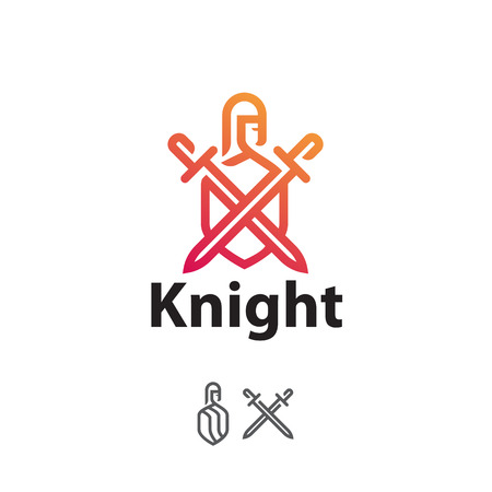 Sign knight with swords and shield, line art