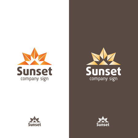 Sign in modern style, abstract signs sunset or sunrise Illustration