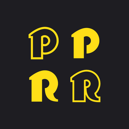 Sign in modern style, set of abstract signs, letter R and P