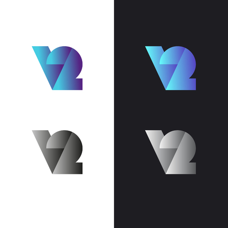 Sign in modern style, set of abstract signs, letter v2 Illustration