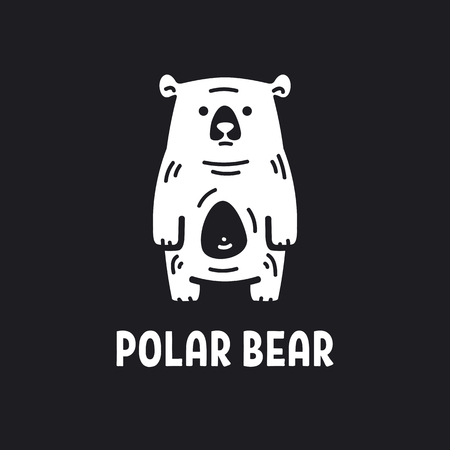 illustration of a funny polar bear, polar bear on a black background Illustration