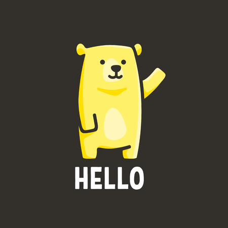 funny yellow bear, illustration of a bear that greets