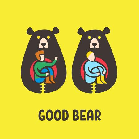 Illustration bear friend man, bear holds man