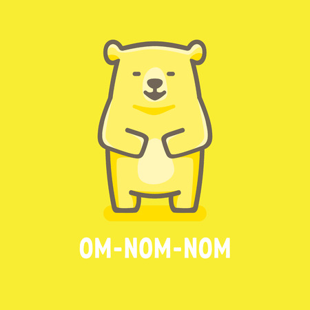funny illustration of a full yellow bear