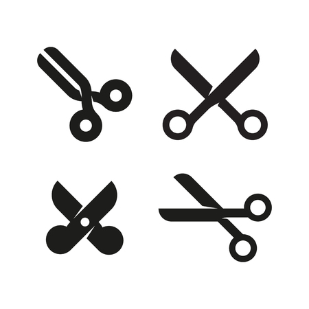 Set of icons or signs of scissors in different styles