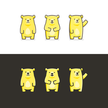 funny illustration set of yellow bear
