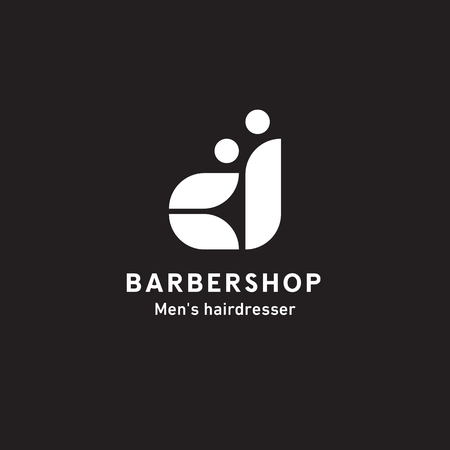 Barbershop sign, mens hair salon, master and man side view