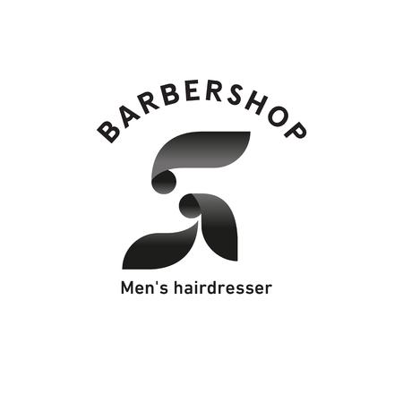 Barbershop sign, men's hairdresser, bearded man side view, profile
