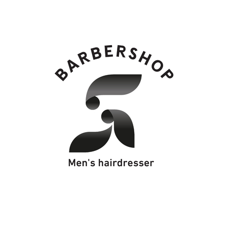 Barbershop sign, mens hairdresser, bearded man side view, profile Illustration