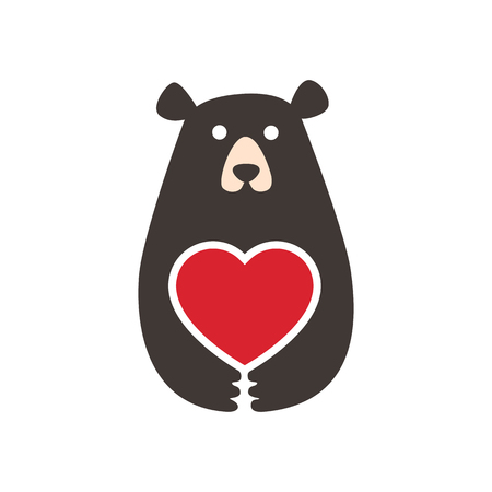 Sign bear hugs heart, illustration for postcard for the holiday