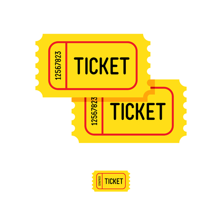 Yellow tickets on a white background