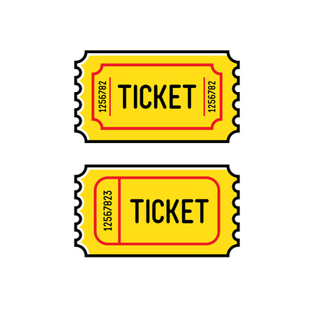 Yellow tickets on a white background Banque d'images - 125891057