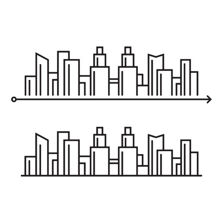 illustration of the silhouette of the city of lines, illustration on the theme of navigation