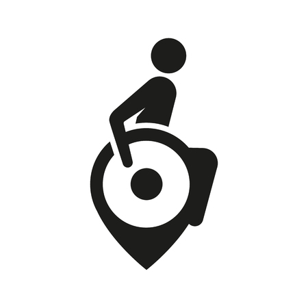 sign or illustration on a barrier-free environment, sign of a disabled person in a wheelchair as a point
