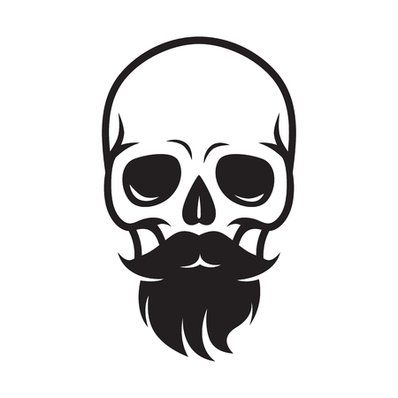illustration skull with beard and mustache, for barbershop or halloween