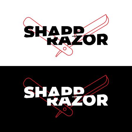 illustration on the theme of the barbershop, a sharp razor cuts the inscription