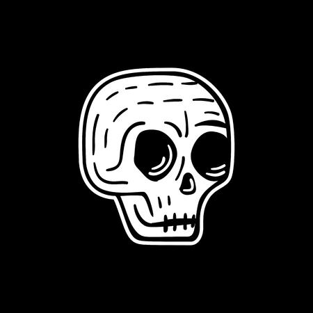 Hand drawn skull sign, funny skull with eyes Illustration