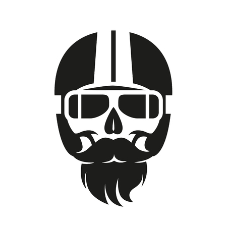 illustration skull in motorcycle helmet, print on t-shirt or as a sign Ilustrace