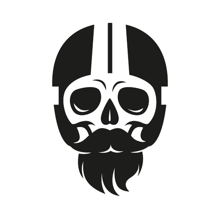 illustration skull in motorcycle helmet, print on t-shirt or as a sign Illustration