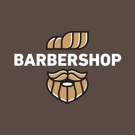 Illustration of a man with a beard and mustache, neat haircut, for barbershop or male hairdresser