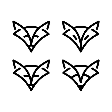 Sign fox in line art style, simple stylish sign Illustration