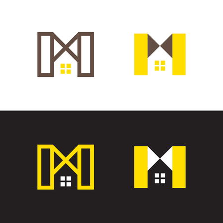 A set of signs on the theme of the construction of a modern house, country house, cottage