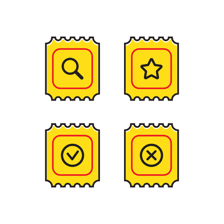 set of icons for the site or application for the sale of tickets Illustration
