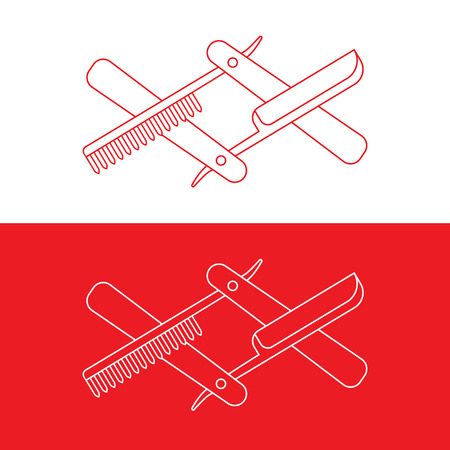 razor and hairbrush illustration, from thin lines, barbershop decoration or event Illustration