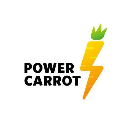 Sign carrot lightning, the power of proper nutrition, vitamins Vectores