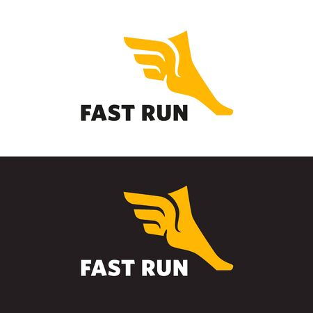 Flying foot sign, speed and power, mythology Illustration
