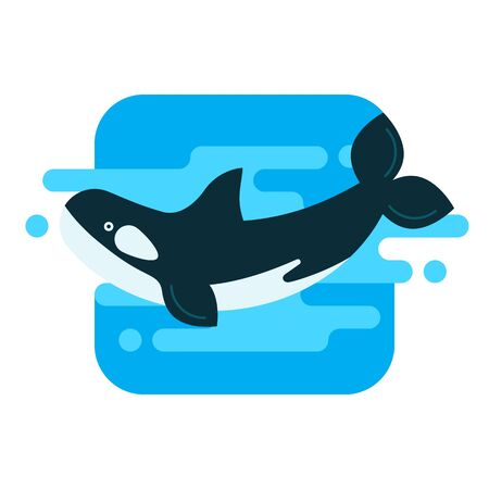Illustration of an orca in the water in modern style Vectores