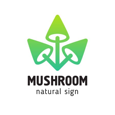 sign mushrooms in a modern style, three mushrooms