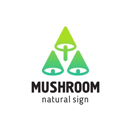 sign mushrooms in a modern style, three mushrooms Banque d'images - 128818929