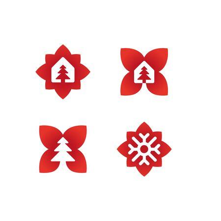 Sign for Christmas store, Christmas tree and snowflake. Illustration