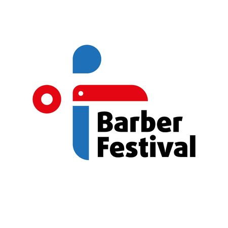 Sign for barber festival, red and blue color.