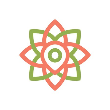 A point in a flower indicates the location of a flower shop, pharmacy or gym, area of application of flowers, yoga, medetsina