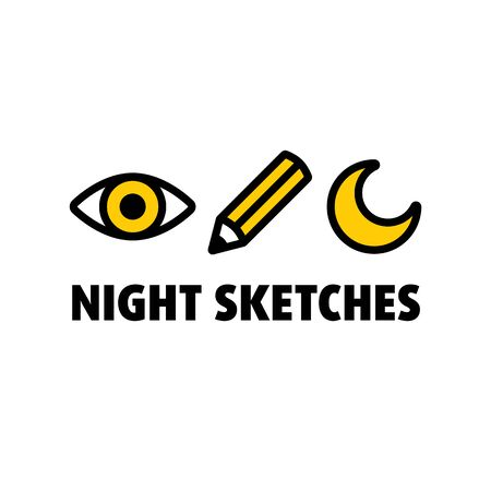 Simple sign for school drawing, night sketches, eye pencil and moon Banque d'images - 133429437