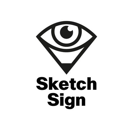 Simple sign for drawing school, eye and pencil, perspective Vectores